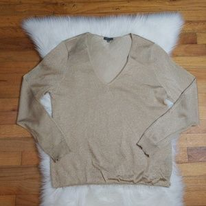 Vince Camuto Faux Wrap Gold Shimmer Sweater